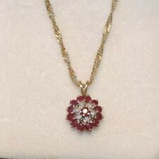 """Gen Red Ruby Diamond Cluster Pendant 10k Yellow Gold 18"""" Necklace 3 gr. 12a 15"""