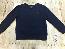 RALPH LAUREN POLO CREW SWEATSHIRT NAVY PONY BOYS SIZE 5 NEW WITH TAGS