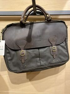 BNWT Barbour Wax Leather Briefcase Olive Green