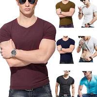 Fashion Men T-Shirt Blouse Blouse Summer Sport Short Sleeve Slim Fit V-Neck