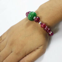 154.80 Carats Natural Red Ruby Green Emerald Round Beaded Designer Bracelet 8""