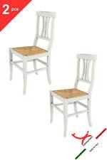TOMMYCHAIRS Set 2 sedie Arte Povera Anticata in legno di faggio e seduta paglia