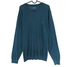 GANT Dark Green Lock Up Crew Neck 100% Wool Jumper Sweater Size XL