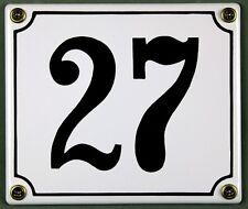 """BIANCO SMALTO NUMERO CIVICO """" 27 """" 14x12 cm casa rapido disponibile INSEGNA"""