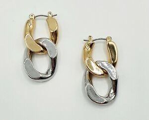 Gold Silver Mixed Metal Small Chain Drop Earrings Stories