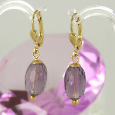 Ohrringe in 375/- Gelbgold - 2 Amethyst Edelsteine in Olivenform facettiert