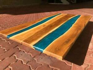 """60"""" x 32"""" Blue Epoxy Resin Wooden Center Dining Table Top Furniture"""