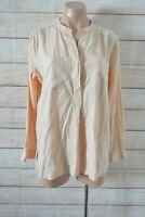 Country Road Popover Shirt Blouse Size Medium Orange Peach Long Sleeve Pockets