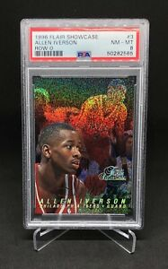 1996 Allen Iverson Flair Showcase Row 0 RC PSA 8 #3 76ers Rookie