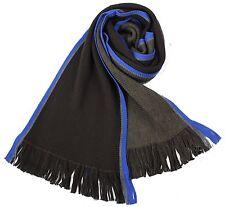 Klassischer Strickschal aus 100% Merinowolle mit Fransen - braun/blau gestreift