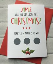 Personalised Funny Rude Scratch to Win Christmas Card: Husband Boyfriend Fiance