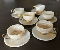 Set 12 Vintage Champagne Gold Beige Marble Demitasse Cup Saucer Gold Leaf Handle