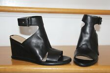 $195 NEW Via Spiga Donovan Open Toe Side Cut-Out Black Leather Wedge Sandals 6.5