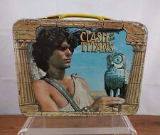 VTG 1980 Clash of the Titans Metal Tin Lunch Box Thermos Division Pegasus Kraken