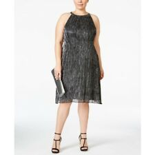 Alfani Dress 16w Halter Shift Black Metallic Cocktail Plus Size Womens New