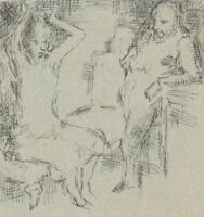 Harold Hope Read, Couple in Bedroom Scene – Original 1920s pen & ink drawing