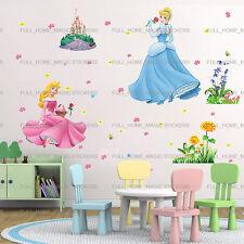 Extra Grande Princesa Cenicienta + castillo niñas habitación pegatinas de pared arte Calcomanía decoración