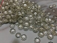 100 Pcs Silver Tone Flower Bead End Caps 9mm Findings DIY Craft Accessories
