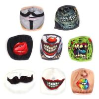 2x REUSABLE ADULTS FACE MASKS Pattern Novelty Mouth Skull Clown Cotton Polyester