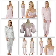 Ladies Pink Long Satin Chemise PJs Pyjamas Set Nightdress Size 8 - 34 plus size