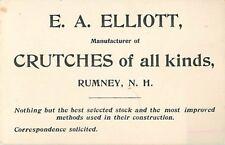 E.A. Elliott, Crutch Manufacturer, Rumney, NH, Business Card & Envelope