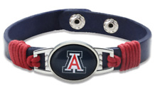 New Arizona Wildcats Leather Adjustable Bracelet, Gift for Her Mom Him Dad