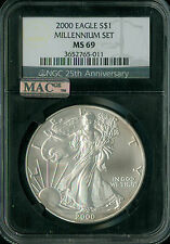 2000 MILLENIUM SILVER EAGLE NGC RETRO MAC MS69 PQ 2ND FINEST REGISTRY SPOTLESS *