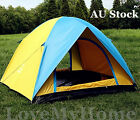 3-4 Person Waterproof UV-Proof Camping Hiking Tent Blue Yellow OTENT0301