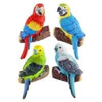 Set of 4 Wall Mountable Parrot Parakeet Bird Ornaments Colourful Tropical