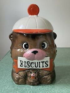 Vintage LARGE Bear Cookie Jar - Made in Japan - Kitsch - Approx 25cm Tall