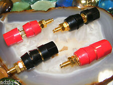ø2 PAIRES BORNIERS ENCEINTES CÂBLE MOYENNE SECTION FICHE BANANE GOLD AMPLI LAMPE