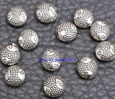 40pcs tibetan silver charms Round cakes fish beads  spacer bead 10MM G3419