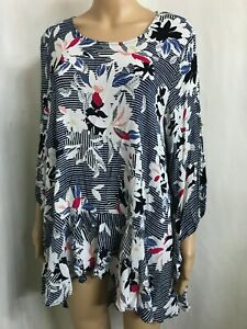 VIRTUELLE BY T S SIZE 18 FLORAL STRIPED 3/4 SLEEVE HI LO FRILLED TUNIC TOP