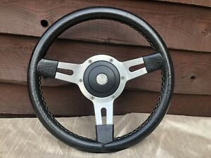 MOUNTNEY STEERING WHEEL 13 INCH BLACK LEATHER GOOD CONDITION