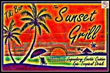 SUNSET GRILL ALL WEATHER METAL SIGN 8X12 HAPPY HOUR TIKI BAR LUAU TROPICAL DECOR