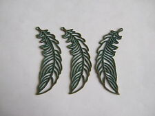 5pcs Antique Greek Bronze Open Feather Charm Pendant For Jewelry Making