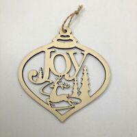 JOY reindeer teardrop Christmas Ornament Large Laser Cut Wood Ornament