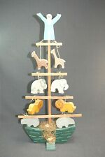 Noah's Ark Wood Ship Tree with 10 Tie On Animals & Noah Figurine