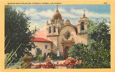 Vintage Linen Postcard CA D257 Mission San Carlos Del Carmelo Carmel Piltz