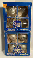 6 Vintage Shiny Brite Christmas Ornaments with 2 boxes Santa Claus & His Sleigh
