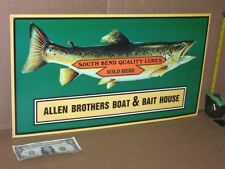 Fish Lures South Bend Quality - Boat & Bait House - Beautiful - Embossed Sign