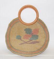 Bag Bazaar Boho Style Purse Large Round Vintage Woven Raffia with Hoop Handles