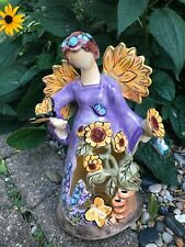 New listing Heather Goldminic Blue Sky Clayworks 'Sunflower Angel 2009 T-Lite candle holder