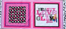 Pink Glam BARBIE Doll Poodles Shoes Purse cotton quilt Fabric Pillow panel OOP