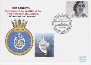 GB Stamps Navy Souvenir Cover HMS Sandown minehunter, crest, tree,horseshoe 2006