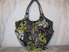 Vera Bradley Baroque Side by Side Handbag Purse & Wallet Lot Nice Set!