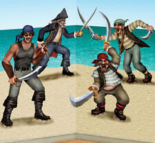 PIRATES dueling BANDITS Scene Setter prop HAPPY BIRTHDAY party wall decor kit