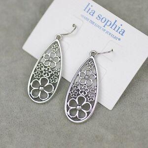 Lia sophia jewelry silver tone drop dangle hook earrings flower pattern hollow