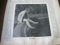 1905 Real Photo Print - LITTLE Nude GIRL w/ FEET in WATER Pond SKINNY DIP SWIM