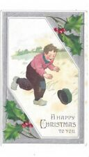 Antique Christmas Post Card Boy Chases His Hat in the Wind Silver Foil Trim